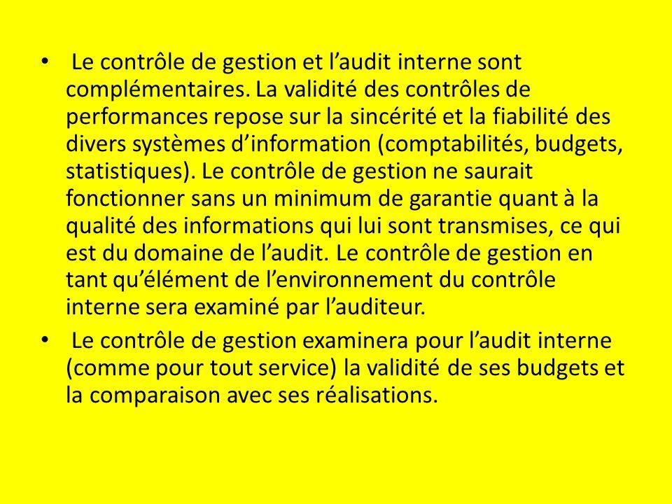 Le contrôle de gestion et l'audit interne sont complémentaires