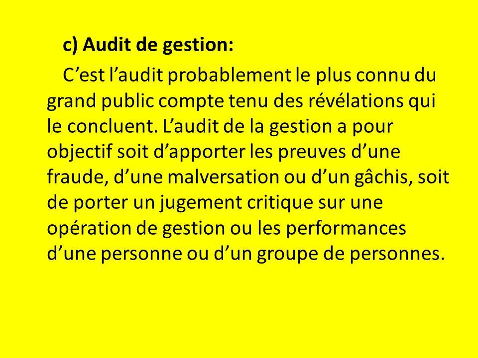 c) Audit de gestion: