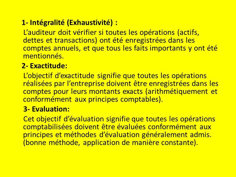 1- Intégralité (Exhaustivité) :