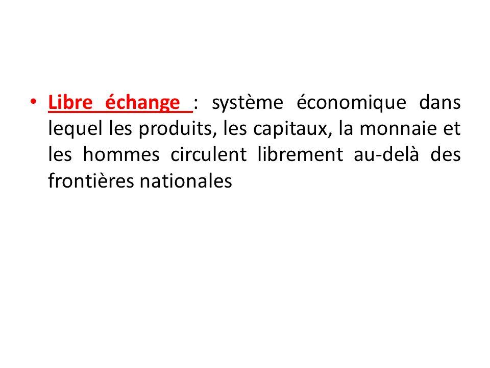 Libre échange : système économique dans lequel les produits, les capitaux, la monnaie et les hommes circulent librement au-delà des frontières nationales