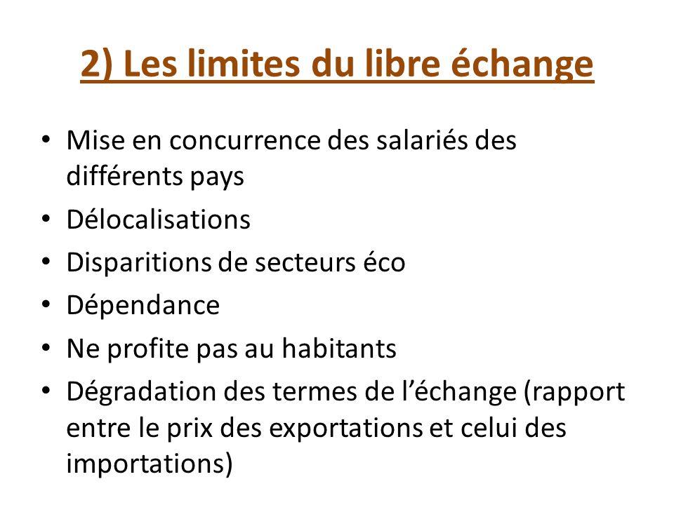 2) Les limites du libre échange