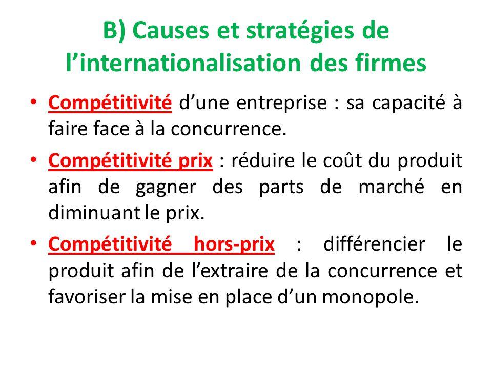 B) Causes et stratégies de l'internationalisation des firmes