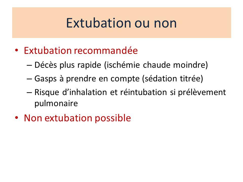 Extubation ou non Extubation recommandée Non extubation possible