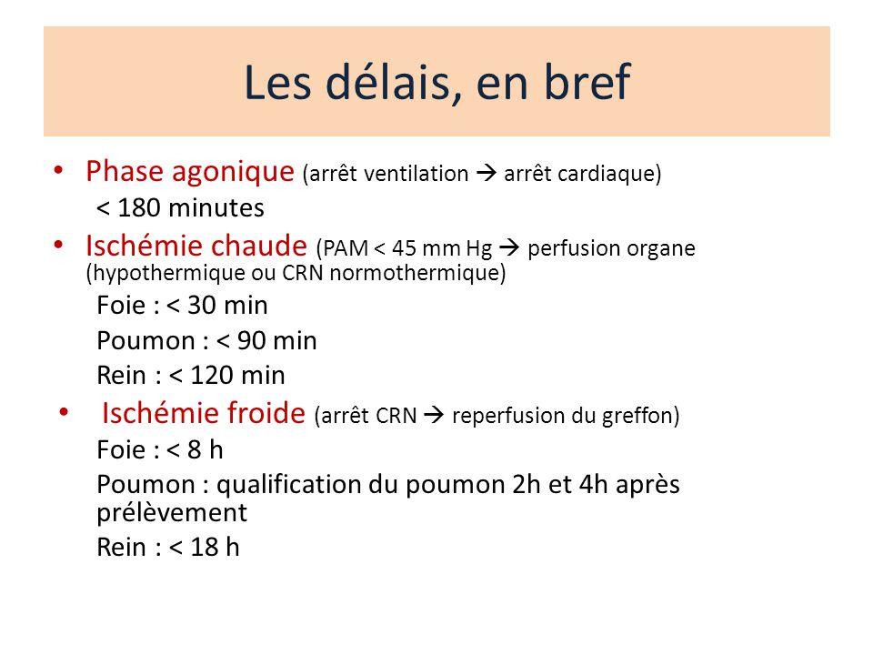 Les délais, en bref Phase agonique (arrêt ventilation  arrêt cardiaque) < 180 minutes.