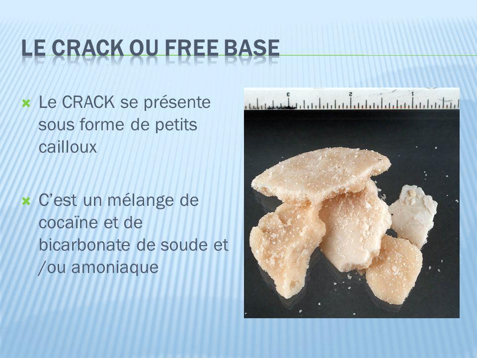 LE CRACK ou FREE BASE Le CRACK se présente sous forme de petits cailloux.