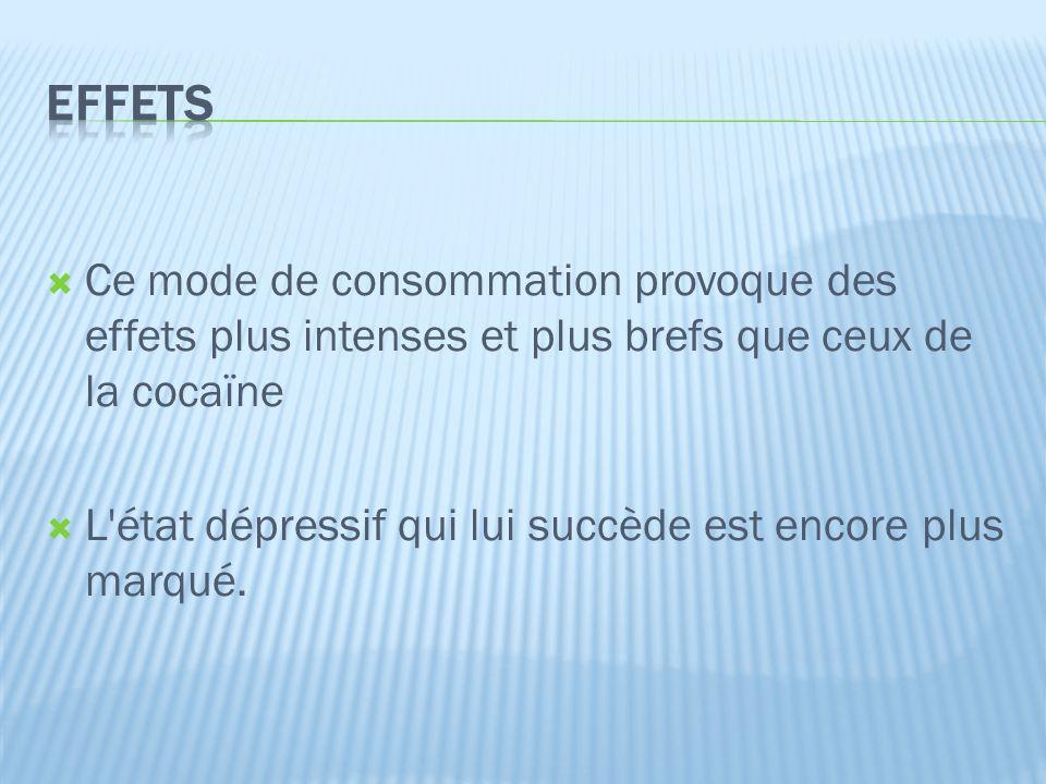 EFFETS Ce mode de consommation provoque des effets plus intenses et plus brefs que ceux de la cocaïne.