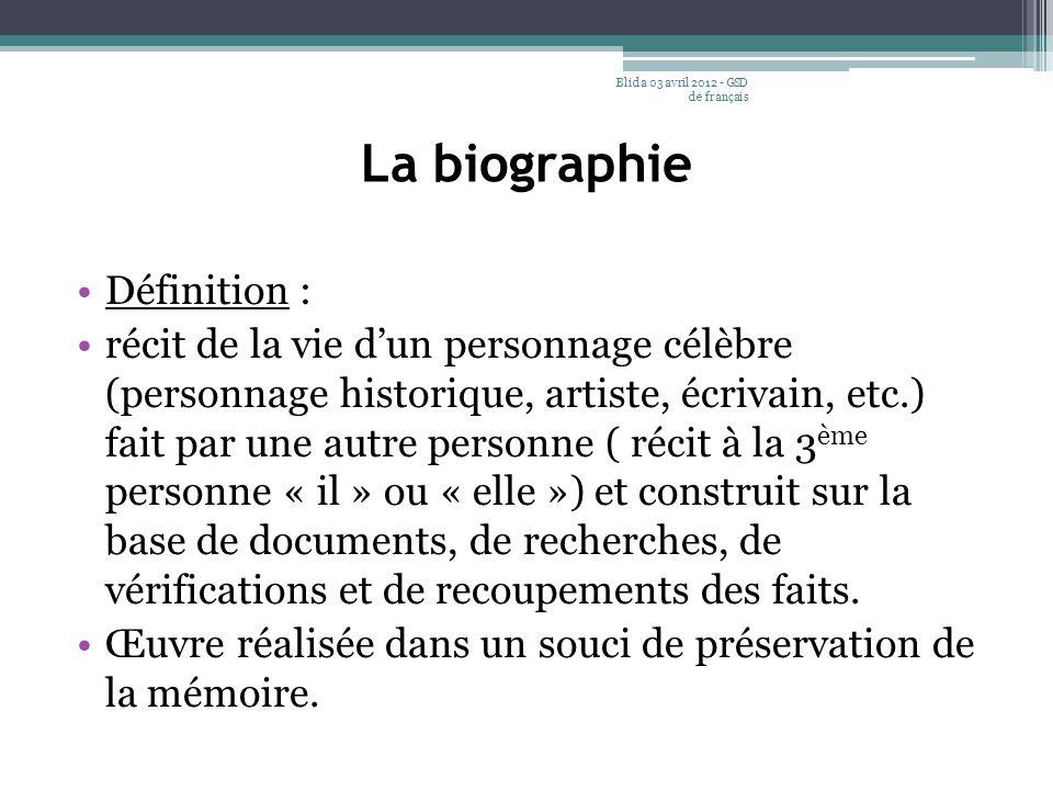 La biographie Définition :