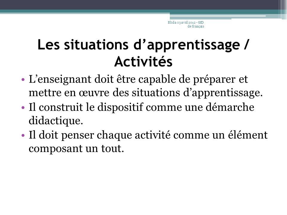 Les situations d'apprentissage / Activités