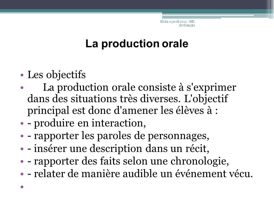 La production orale Les objectifs