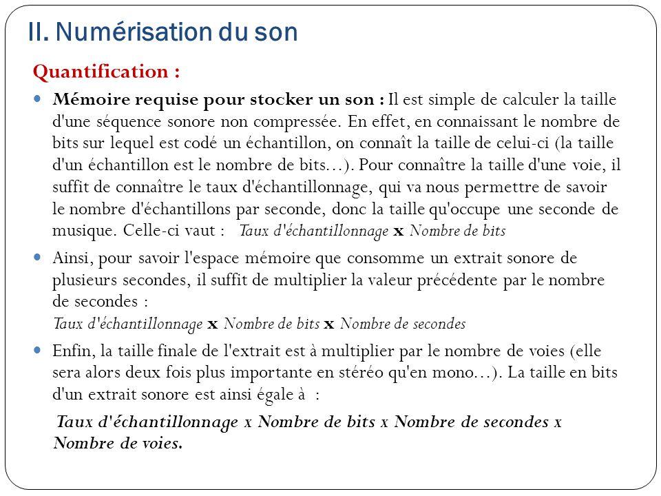 II. Numérisation du son Quantification :
