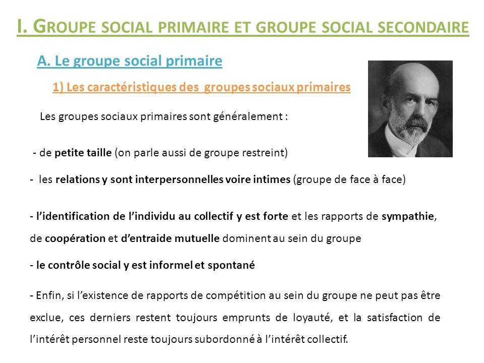 I. Groupe social primaire et groupe social secondaire