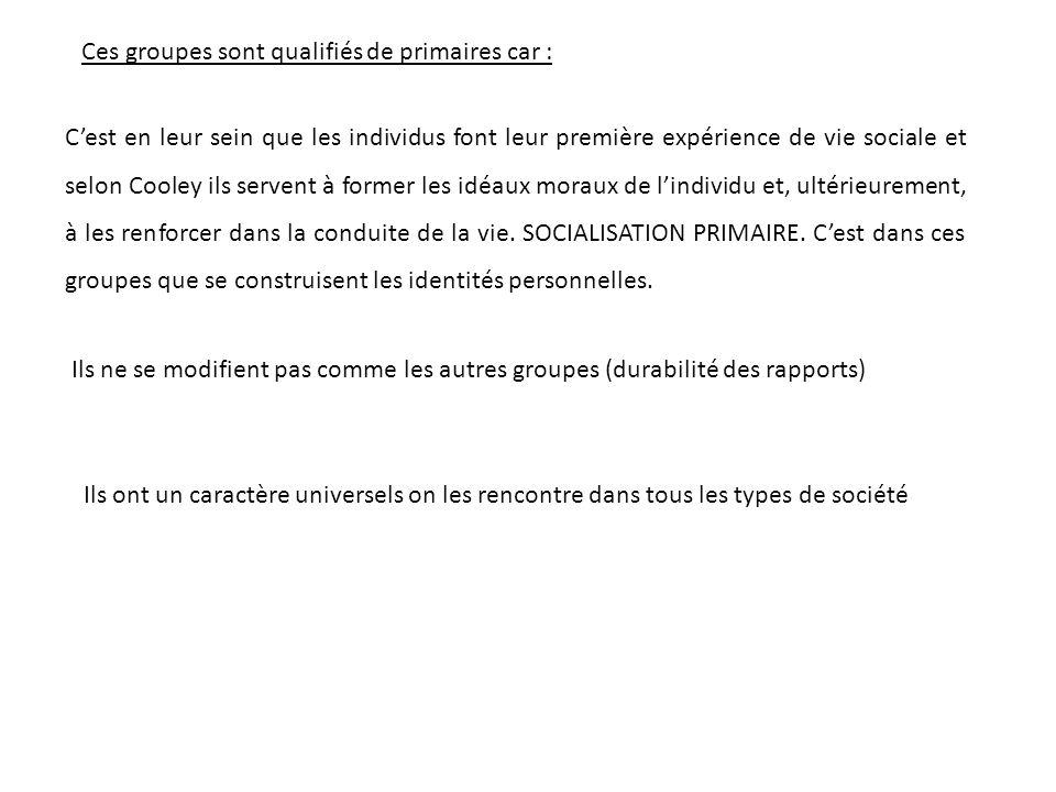 Ces groupes sont qualifiés de primaires car :