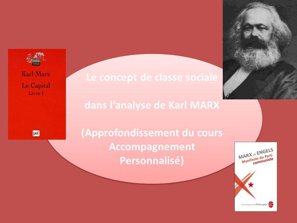 Le concept de classe sociale dans l'analyse de Karl MARX