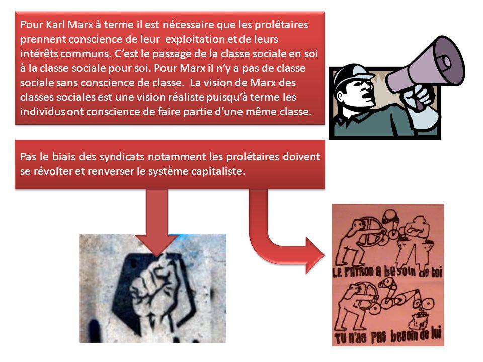 Pour Karl Marx à terme il est nécessaire que les prolétaires prennent conscience de leur exploitation et de leurs intérêts communs. C'est le passage de la classe sociale en soi à la classe sociale pour soi. Pour Marx il n'y a pas de classe sociale sans conscience de classe. La vision de Marx des classes sociales est une vision réaliste puisqu'à terme les individus ont conscience de faire partie d'une même classe.
