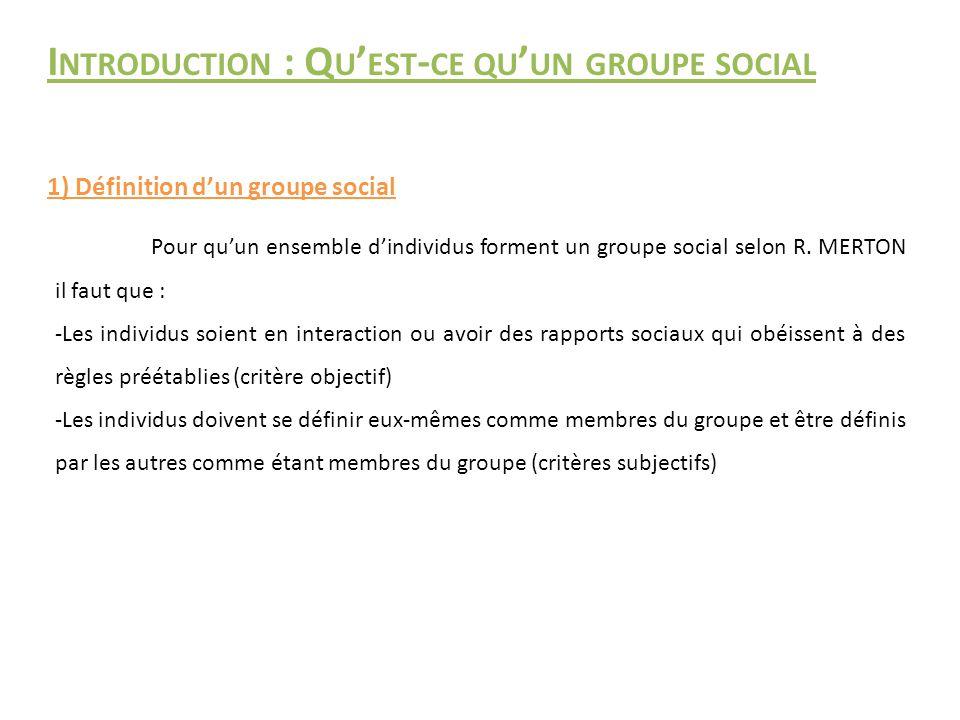 Introduction : Qu'est-ce qu'un groupe social