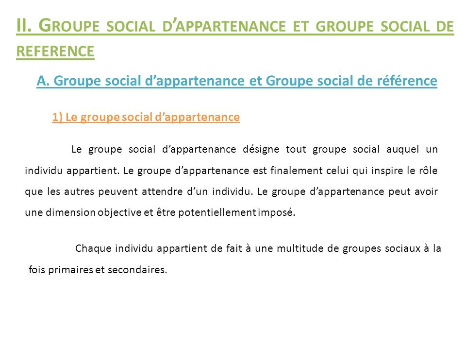 II. Groupe social d'appartenance et groupe social de reference