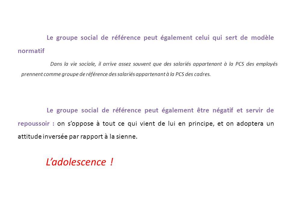 Le groupe social de référence peut également celui qui sert de modèle normatif