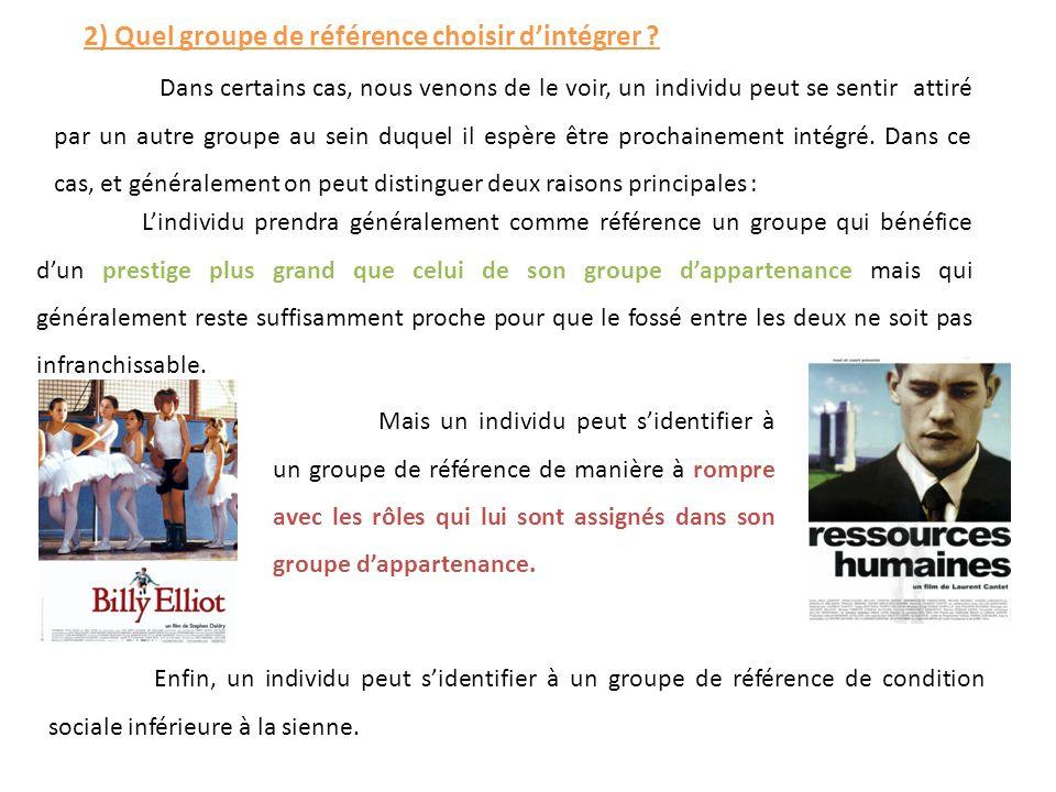 2) Quel groupe de référence choisir d'intégrer