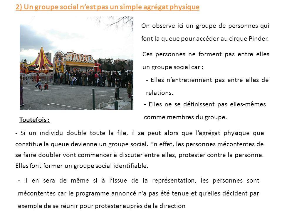 2) Un groupe social n'est pas un simple agrégat physique