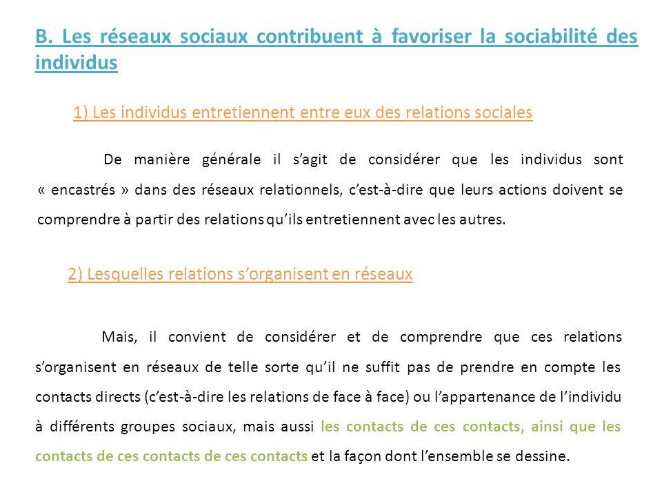 B. Les réseaux sociaux contribuent à favoriser la sociabilité des individus