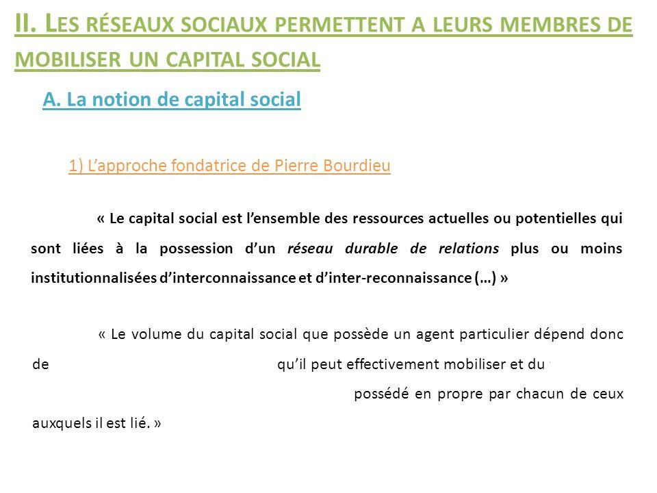 II. Les réseaux sociaux permettent a leurs membres de mobiliser un capital social