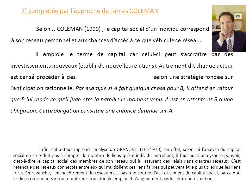 2) complétée par l'approche de James COLEMAN