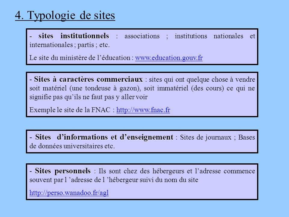 4. Typologie de sites - sites institutionnels : associations ; institutions nationales et internationales ; partis ; etc.