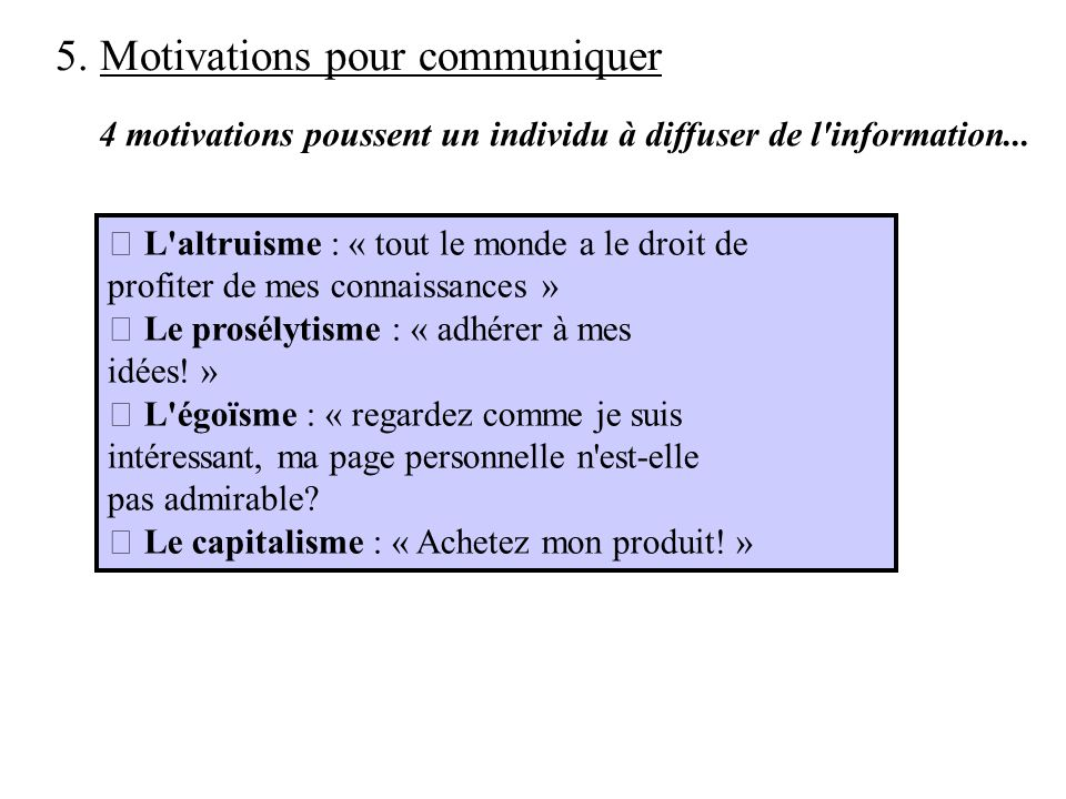 5. Motivations pour communiquer