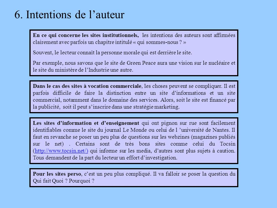 6. Intentions de l'auteur