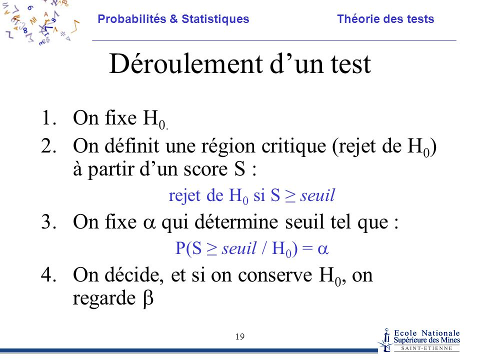 Déroulement d'un test On fixe H0.