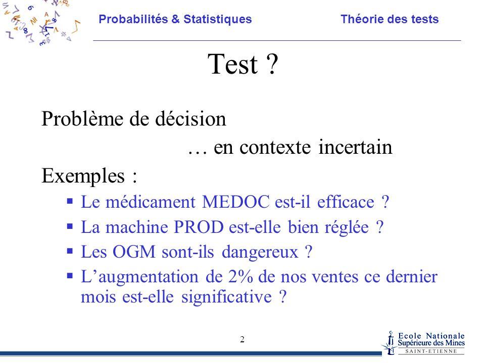 Test Problème de décision … en contexte incertain Exemples :