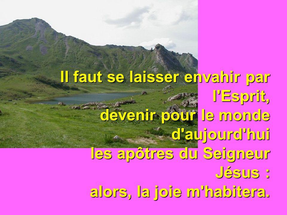 Il faut se laisser envahir par l Esprit, devenir pour le monde d aujourd hui les apôtres du Seigneur Jésus : alors, la joie m habitera.