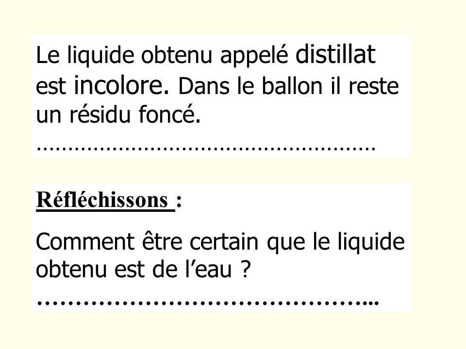 Le liquide obtenu appelé distillat est incolore