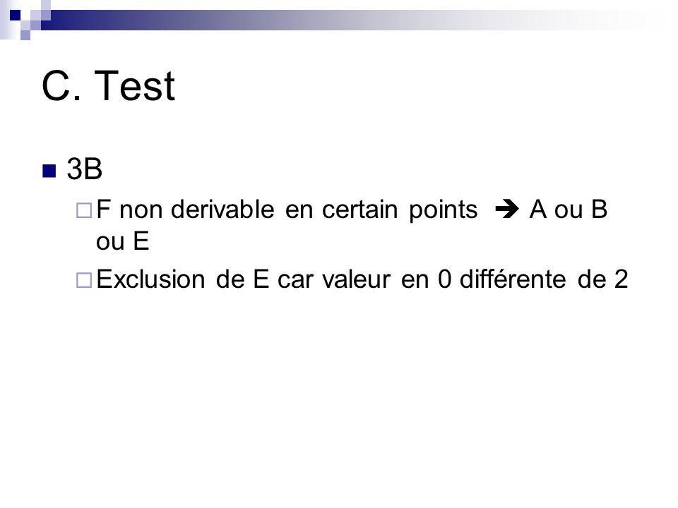 C. Test 3B F non derivable en certain points  A ou B ou E