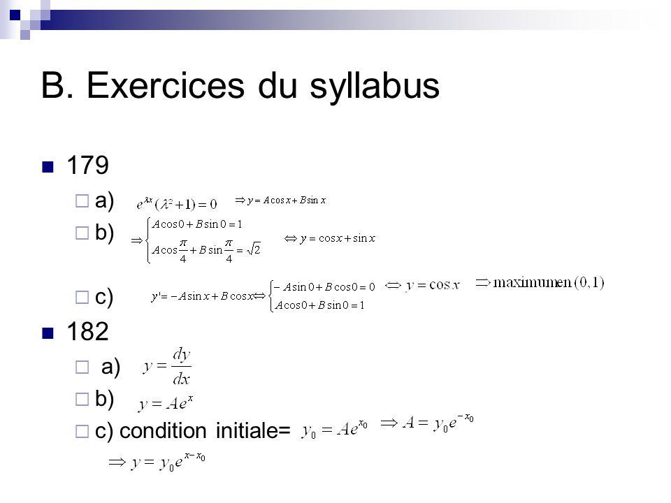 B. Exercices du syllabus
