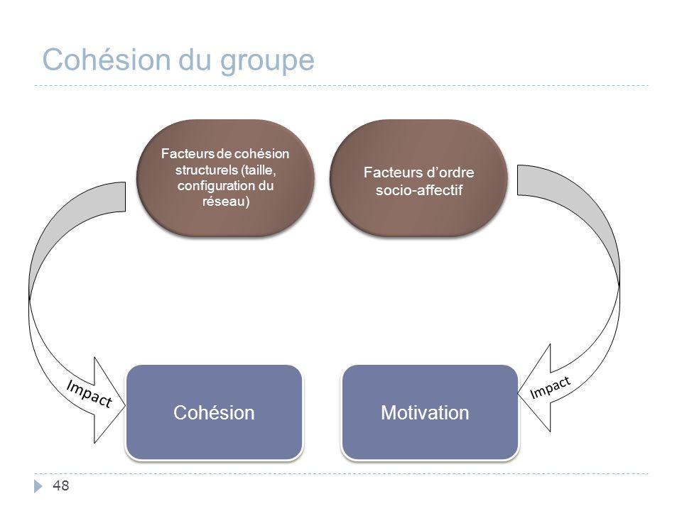 Cohésion du groupe Impact Cohésion Motivation Impact