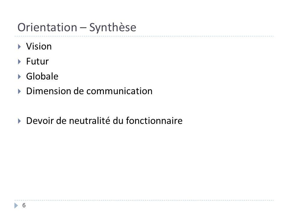 Orientation – Synthèse