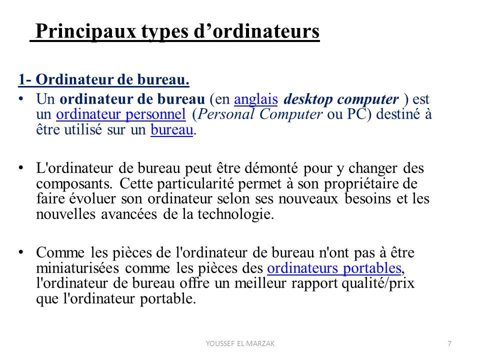 Principaux types d'ordinateurs