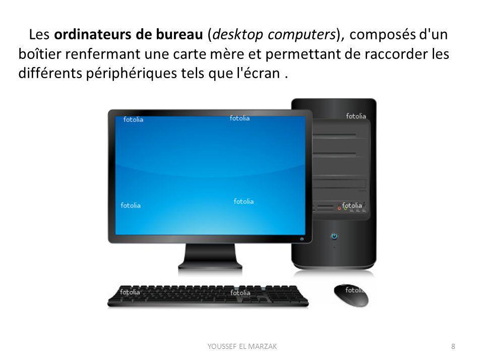 Les ordinateurs de bureau (desktop computers), composés d un boîtier renfermant une carte mère et permettant de raccorder les différents périphériques tels que l écran .