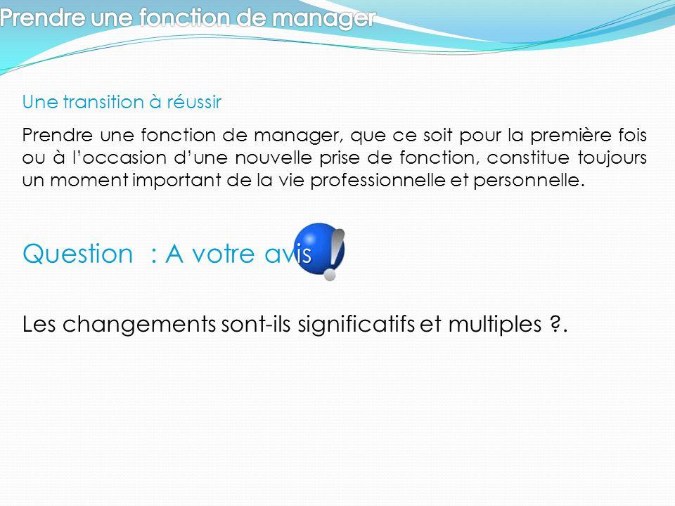 Question : A votre avis Prendre une fonction de manager