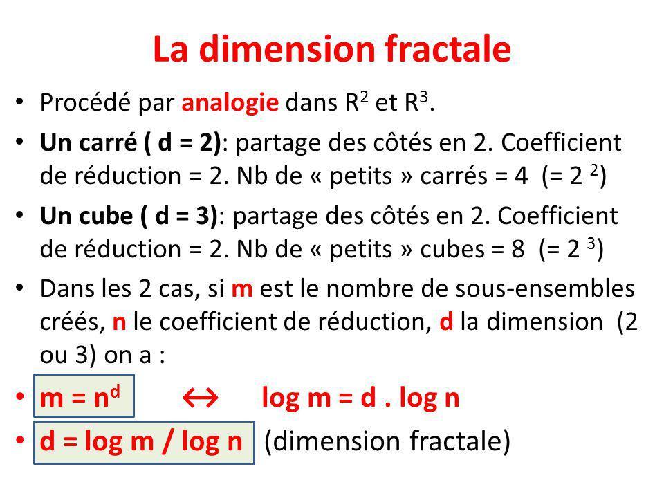 La dimension fractale m = nd ↔ log m = d . log n