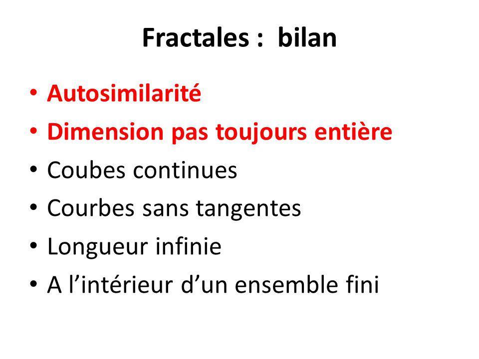 Fractales : bilan Autosimilarité Dimension pas toujours entière