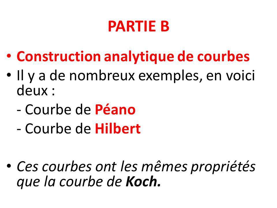 PARTIE B Construction analytique de courbes