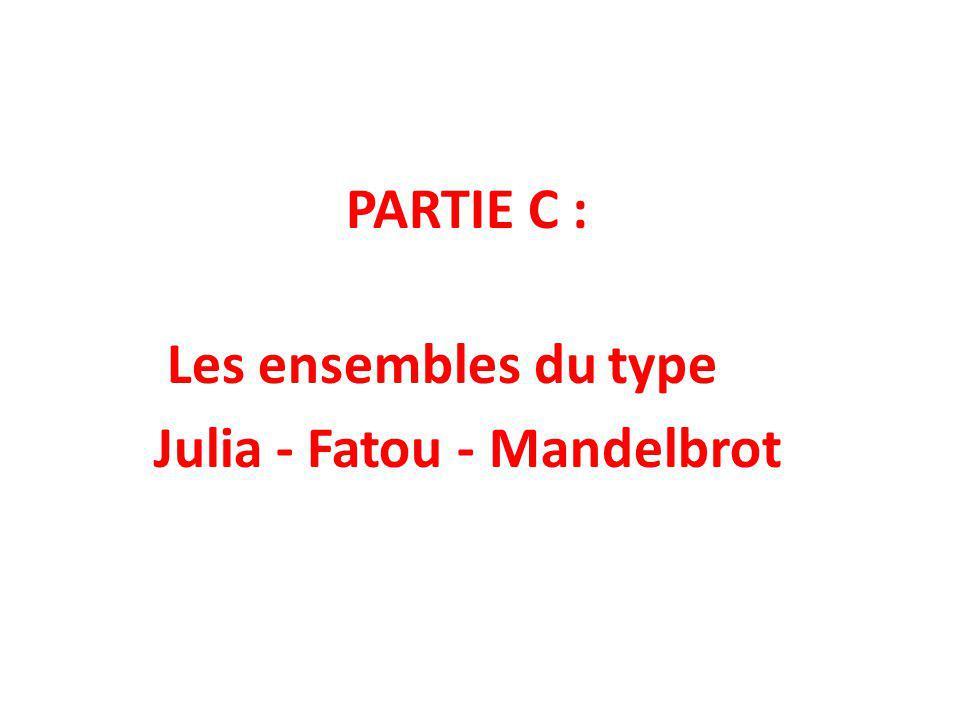 PARTIE C : Les ensembles du type Julia - Fatou - Mandelbrot