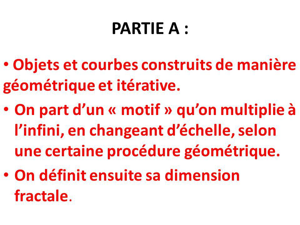 PARTIE A : Objets et courbes construits de manière géométrique et itérative.
