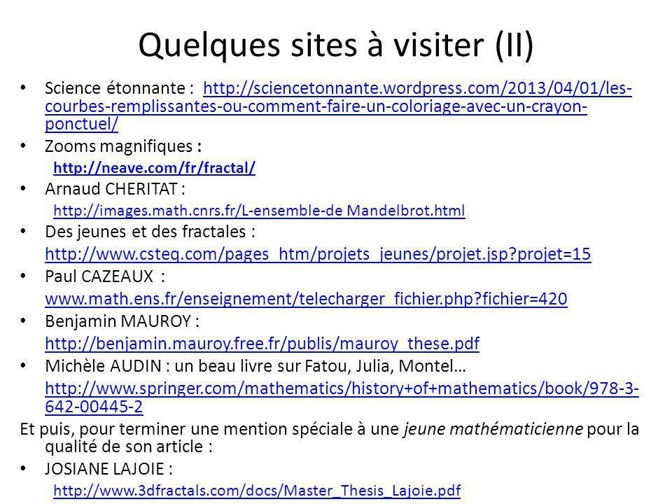 Quelques sites à visiter (II)