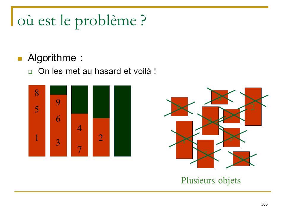 où est le problème Algorithme : 8 7 4 2 6 3 1 9 5 8 Plusieurs objets
