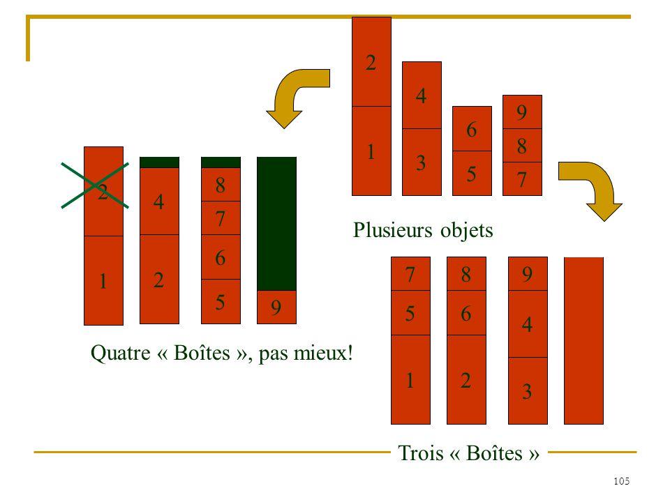 7 4. 2. 6. 3. 1. 9. 5. 8. Plusieurs objets. 2. 3. 4. 8. 7. 1. 2. 6. Trois « Boîtes »