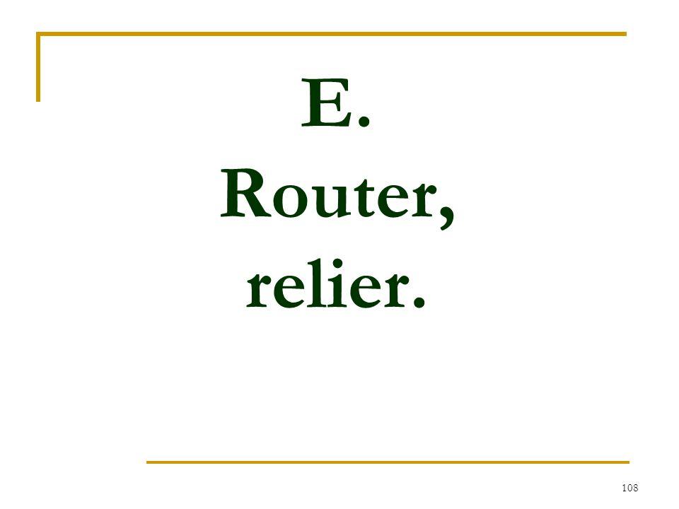 E. Router, relier.
