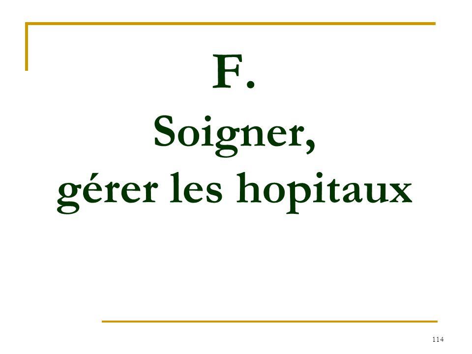F. Soigner, gérer les hopitaux